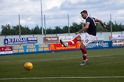 Falkirk's Lewis Toshney misses the last penalty to give Livingston the win. Falkirk 1 v 1 Livingston, Livingston win 4-3 on penalties. BetFred Cup game played 13/7/2019 at The Falkirk Stadium.
