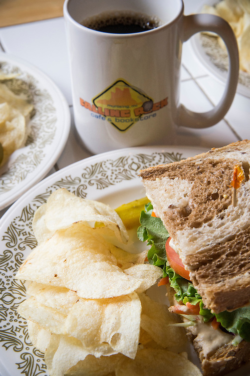 A sandwich and coffee at The Falling Rock Cafe and Bookstore in Munising Michigan.