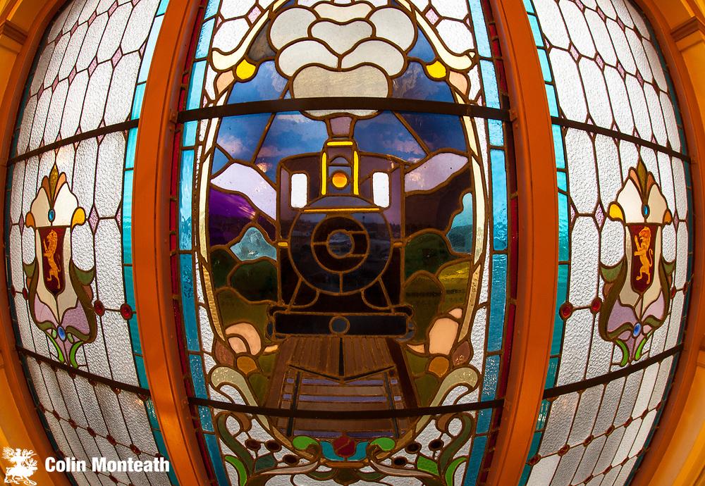 Dunedin Railway Station, stained glass window, Dunedin, Otago, New Zealand