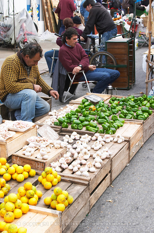 A market stall street market merchant selling lemons, garlic and green bellpeppers bell peppers. Montevideo, Uruguay, South America