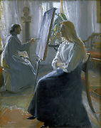 In the Studio, Anna Ancher, the Artist's Wife Painting'.  Michael Ancher (1849-1927) Danish artist.Oil on canvas.