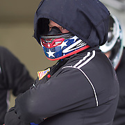 Winter Olympics, Vancouver, 2010. Steve Holcomb, the pilot of the USA-1 team waits at the top of the track as his team prepares for a practice run during the Four-man Bobsleigh competition at Whistler Sliding Centre , Whistler, during the Vancouver Winter Olympics. 25th February 2010. Photo Tim Clayton