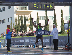 March 18, 2018 - Santa Monica, California, U.S - Weldon Kirui #6 of Kenya crosses the finish line with a time of 2:11:47 to win the Skechers Performance Los Angeles Marathon on Sunday March 18, 2018 in Santa Monica, California. (Credit Image: © Prensa Internacional via ZUMA Wire)