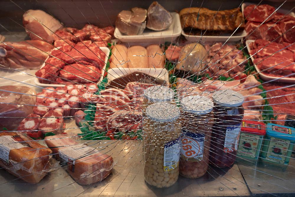 Butchers shop broken window on 14th January 2020 in London, England, United Kingdom.