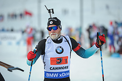February 8, 2019 - Calgary, Alberta, Canada - Guigonnat Antonin (FRA) rests after the first exchange during Men's Relay of 7 BMW IBU World Cup Biathlon 2018-2019. Canmore, Canada, 08.02.2019 (Credit Image: © Russian Look via ZUMA Wire)