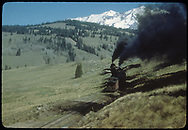 """RGS #455 and mid-train helper #461with a northbound freight  just north of Upper Gallagher Trestle, having passed the camera.<br /> RGS  Gallagher, CO  Taken by Kindig, Richard H. - 6/7/1951<br /> In book """"RGS Story, The Vol. IV: Over the Bridges? Ophir Loop to Rico"""" page 376<br /> Thanks to Don Bergman for additional information."""