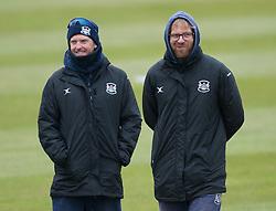 Gloucester Assistant Head Coach Ian Harvey and Head Coach Richard Dawson look on. - Mandatory byline: Alex Davidson/JMP - 24/03/2016 - CRICKET - Taunton Vale CC - Taunton , England - Somerset v Gloucestershire -  Pre Season