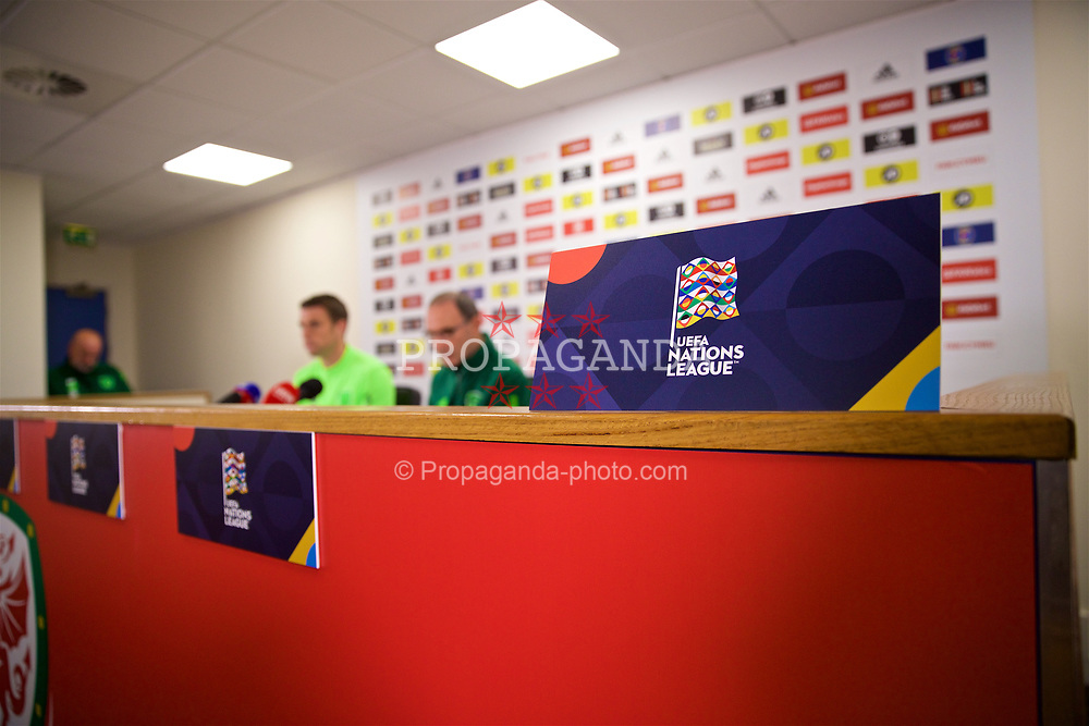 CARDIFF, WALES - Wednesday, September 5, 2018: Republic of Ireland's head coach Martin O'Neill (right) and captain Séamus Coleman during a press conference at the Cardiff City Stadium ahead of the UEFA Nations League Group Stage League B Group 4 match between Wales and Republic of Ireland. (Pic by David Rawcliffe/Propaganda)