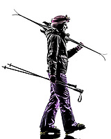 one  woman skier walking side view in silhouette on white background