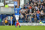 Portsmouth Forward, Brett Pitman (8) scorer of 2 goals applauds the fans during the EFL Sky Bet League 1 match between Portsmouth and Fleetwood Town at Fratton Park, Portsmouth, England on 16 September 2017. Photo by Adam Rivers.