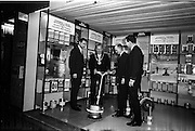 14/01/1963<br /> 01/14/1963<br /> 14 January 1963<br /> Goodbody stand at the Irish Hotel and Catering Trades Exhibition. Good body Ltd., Dun Laoghaire, announced the formation of a new Floor Maintenance Division for industry at the exhibition opening. Good body were manufacturers and distributers of Johnson's Wax Products and Columbus-Dixon Floor Maintenance Equipment.  Picture shows the Lord ~Mayor of Dublin, Alderman J.J. O'Keeffe T.D., visiting the special Goodbody exhibit, (l-r): Brian McMahon, Marketing Manager; The Lord Mayor; Tony Woodhouse, Maintenance Advisor and Niall McCarthy, Field Sales Manager.