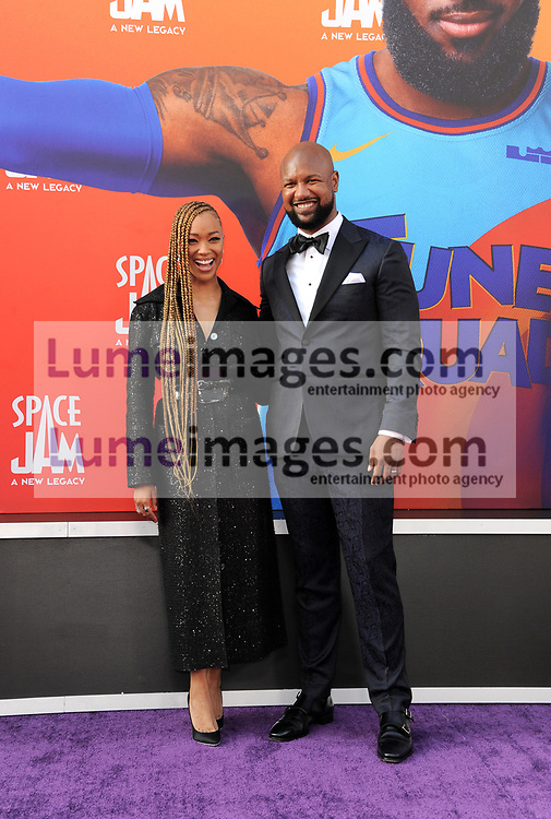 Sonequa Martin-Green and Kenric Green at the Los Angeles premiere of 'Space Jam: A New Legacy' held at the Regal LA Live in Los Angeles on July 12, 2021.