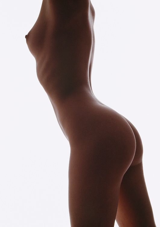 Silhouette photo of a nude woman's torso against a white background