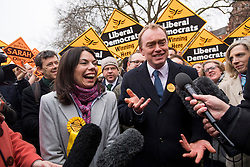 © Licensed to London News Pictures. 02/12/2016. London, UK. Liberal Democrat Leader TIM FARRON joins new MP for Richmond, SARAH OLNEY to celebrate their victory in the Richmond Park by-election. Zac Goldsmith resigned from the conservative party in order to force a by-election, in protest at government backing of the third runway at Heathrow airport. Photo credit: Ben Cawthra/LNP