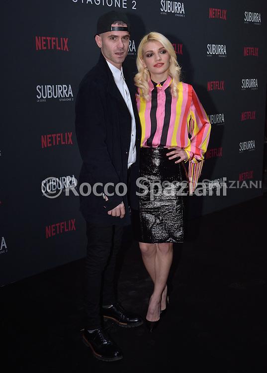 ROME, ITALY - FEBRUARY 20: Gemello and Carlotta Antonelli i attends the after party for Netflix 'Suburra' The Series, season 2 launch at Circolo Degli Illuminati on February 20, 2019 in Rome, Italy.