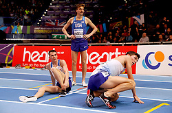 Great Britain's Jake Wightman (right), Chris O'Hare (left) and USA's Craig Engels after the Mens 1500 metres final during day four of the 2018 IAAF Indoor World Championships at The Arena Birmingham.