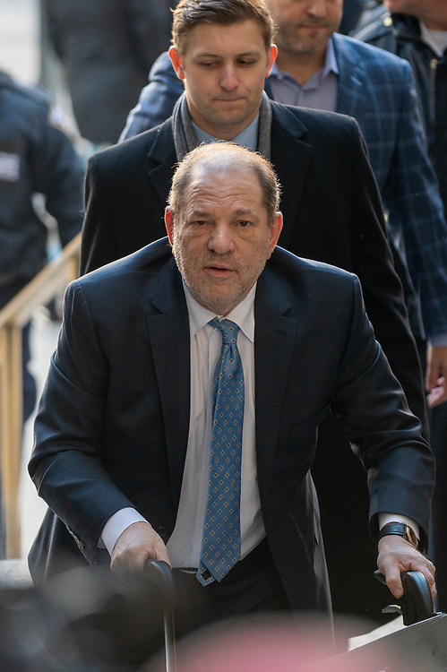 Harvey Weinstein arrives to Manhattan Criminal Court where the jury continues deliberations in his sexual assault trial in New York City on February 24, 2020.