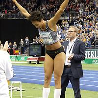 14.02.2020, Mercedes Benz Arena, Berlin, GER, ISTAF-Indoor 2020 Berlin, im Bild <br /> Weitsprung <br /> Malaika Mihambo (GER), Martin Seeger (Sportdirektor)<br /> <br />      <br /> Foto © nordphoto / Engler