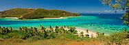 Panorama of a busy day on the eastern side of  Nanuya Balavu island in the Yasawa group. Fiji.