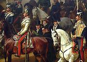 Parade auf dem Opernplatz (Berlin), 1824-1830 Between brown and white horse: Alexander von Humboldt (left), Giacomo Meyerbeer (right), above the white horse,Gaspare Spontini. Nationalgalerie, Staatliche Museen zu Berlin. By Franz  Krüger, 1797-1857