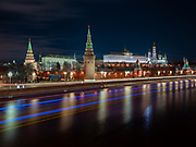 Subzero temperatures and ice on the streets weren't enough to keep me in tonight.  I ended up with a decent frame of the Kremlin on the river.