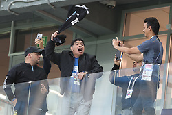 NIZHNY NOVGOROD, June 21, 2018  Former soccer player Diego Maradona (2nd L) of Argentina cheers prior to the 2018 FIFA World Cup Group D match between Argentina and Croatia in Nizhny Novgorod, Russia, June 21, 2018. (Credit Image: © Yang Lei/Xinhua via ZUMA Wire)