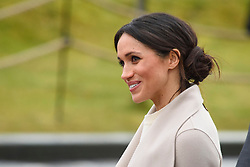 Meghan Markle leaving the Titanic Belfast attraction in Belfast, Northern Ireland. Picture date: Friday March 23nd, 2018. Photo credit should read: Matt Crossick/ EMPICS Entertainment.