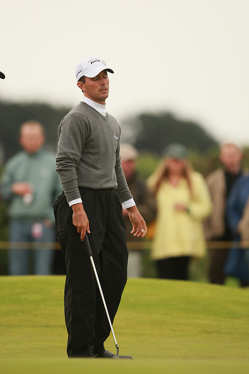 CARNOUSTIE, SCOTLAND - JULY 21: Mike Weirreacts to a missed putt during the third round of the 136th Open Championship in Carnoustie, Scotland at Carnoustie Golf Links on Saturday, July 21, 2007. (Photo by Darren Carroll/Getty Images) *** LOCAL CAPTION *** Mike Weir