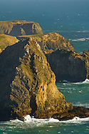 Rugged and rocky coastal cliffs and bluffs near Elk, Mendocino County, California