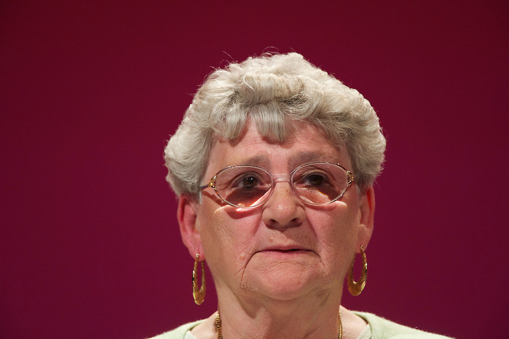 ____, a 77 year old just registered Labor delgate gives a speech at the Labour Party Conference in Manchester on 29 September 2010, the penultimate day of annual assembly.
