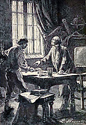 """Professor Schultz and his man from The Begum's Fortune (French: Les Cinq cents millions de la Bégum, literally """"the 500 millions of the begum""""), also published as The Begum's Millions, is an 1879 novel by Jules Verne, with some utopian elements and other elements that seem clearly dystopian. It is noteworthy as the first published book in which Verne was cautionary, and somewhat pessimistic about the development of science and technology.. Translated by W.H.G. Kingston in 1860 Published in Philadelphia by J. B. Lippincott and Co."""