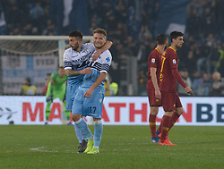 March 2, 2019 - Rome, Lazio, Italy - Danilo Cataldi, Ciro Immobile during the Italian Serie A football match between S.S. Lazio and A.S Roma at the Olympic Stadium in Rome, on March 02, 2019. (Credit Image: © Silvia Lore/NurPhoto via ZUMA Press)