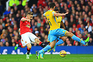 Luke Shaw of Manchester United strikes at goal - Manchester United vs. Crystal Palace - Barclay's Premier League - Old Trafford - Manchester - 08/11/2014 Pic Philip Oldham/Sportimage