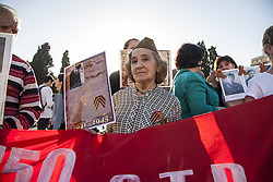 May 7, 2017 - Athens, Greece - Russians that live in Greece celebrated the anniversary of the victory of USSR in WW2 against Nazi Germany. Participants hold photos of soldiers that died during WW2 and shouted slogans against Nazis. (Credit Image: © George Panagakis/Pacific Press via ZUMA Wire)