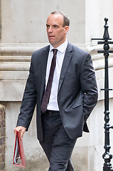 © Licensed to London News Pictures. 04/09/2018. London, UK. Secretary of State for Exiting the European Union Dominic Raab walking through Downing Street after attending a Cabinet meeting this morning. Photo credit : Tom Nicholson/LNP