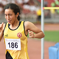 Fatimah Zahra Bte Mohd Rafique (#186) of Victoria Junior College  screaming with joy after her gold medal winning jump of 1.56m.  (Photo © Stefanus Ian/Red Sports)