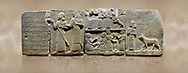 """Photo of Hittite monumental relief sculpted orthostat stone panel of Royal Buttress. Basalt, Karkamıs, (Kargamıs), Carchemish (Karkemish), 900-700 B.C. Anatolian Civilisations Museum, Ankara, Turkey.<br /> <br /> Hieroglyph panel1 (left) - Discourse of Yariris. Yariris presents his predecessor, the eldest son Kamanis, to his people. <br /> Second From left panel 2  -  King Araras holds his son Kamanis from the wrist. King carries a sceptre in his hand and a sword at his waist while the prince leans on a stick and carries a sword on his shoulder. <br /> Hieroglyphs reads; """"This is Kamanis and his siblings.) held his hand and despite the fact that he is a child, I located him on the temple. This is Yariris' image"""".  <br /> <br /> Panel 3 - This panels scene showing 8 out of 10 children of the King, the hieroglyphs reads as follows: """"Malitispas, Astitarhunzas, Tamitispas,Isikaritispas, Sikaras, Halpawaris, Ya hilatispas"""". Above, there are three figures holding knucklebones (astragalus) and one figure walking by leaning on a stick; below are two each figures playing the knucklebones and turning whirligigs.<br />  <br /> Panel 4 - The queen carries her youngest son. The hieroglyphs located above read; """"and this is Tuwarsais; the prince desired by the ruler, whose exclusiveness has been exposed"""". While the queen carries her son in her lap, she holds the rope of the colt coming behind with her other hand. The muscles of the colt are schematic. <br /> <br /> Against a brown art background. .<br /> <br /> If you prefer to buy from our ALAMY STOCK LIBRARY page at https://www.alamy.com/portfolio/paul-williams-funkystock/hittite-art-antiquities.html  - Type  Karkamıs in LOWER SEARCH WITHIN GALLERY box. Refine search by adding background colour, place, museum etc.<br /> <br /> Visit our HITTITE PHOTO COLLECTIONS for more photos to download or buy as wall art prints https://funkystock.photoshelter.com/gallery-collection/The-Hittites-Art-Artefacts-Antiquities-Historic-Sites-Pictur"""