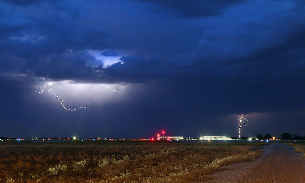 Lightning is seen just west of the Central Nebraska Regional Airport Friday as a storm leaves Grand Island. (Independent/Matt Dixon)