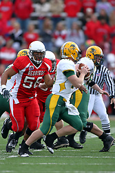 25 October 2008: Doni Phelps applies early pressure on Nick Mertens in a game which the North Dakota Bison defeated the Illinois State Redbirds at Hancock Stadium on campus of Illinois State University in Normal Illinois