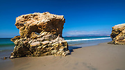 Sea stacks on the beach at Skunk Point, Santa Rosa Island, Channel Islands National Park, California USA