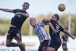Falkirk's Mark Kerr, Dunfermline's Callum Smith  and Falkirk's Peter Grant. Falkirk 2 v 0 Dunfermline, Scottish Challenge Cup played 7/9/2017 at The Falkirk Stadium.