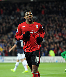 Cardiff City Forward, Fraizer Campbell (ENG) celebrates scoring against his former team - Photo mandatory by-line: Joseph Meredith/JMP - Tel: Mobile: 07966 386802 - 24/11/2013 - SPORT - FOOTBALL - Cardiff City Stadium - Cardiff City v Manchester United - Barclays Premier League.