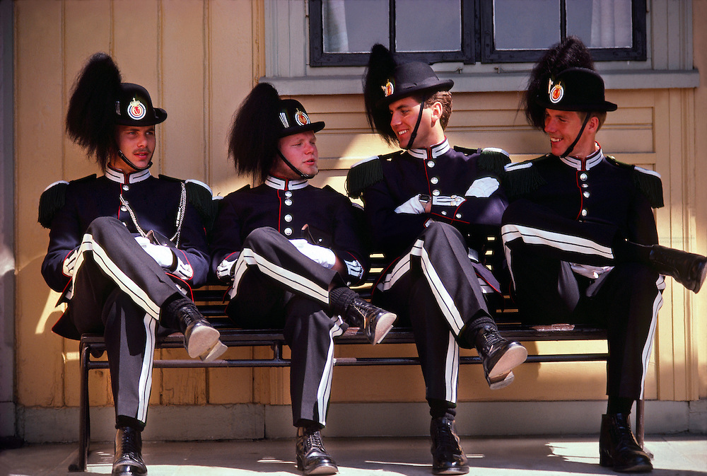 Norwegian soldiers at the Royal Palace, Oslo, Norway