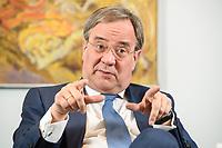 31 MAY 2021, BERLIN/GERMANY:<br /> Armin Laschet, CDU, Ministerpraesident Nordrhein-Westfalen und CDU Bundesvorsitzender, waehrend einem Interview, Landesvertretung NRW<br /> IMAGE: 20210531-01-017