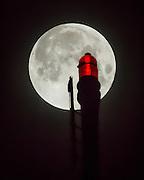 Full Moon and St Johns Bridge Oct 08, 2014 by Mick Orlosky / Redfishingboat