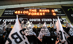 A general view of Derby County flags in the stands prior to the Sky Bet Championship match at Pride Park, Derby.