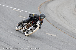 Matt Harris riding his 61 ci board track style motorcycle racer in the Sons of Speed Vintage Motorcycle Races at New Smyrina Speedway. New Smyrna Beach, USA. Saturday, March 9, 2019. Photography ©2019 Michael Lichter.