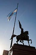 Statue with Argentinian flag outside Casa Rosada, Placa de Mayo,Buenos Aires, Federal District, Argentina.