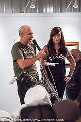 Michael Lichter introduces custom builder and S&S social media specialist Savannah Rose with her Sportster on display in the Old Iron - Young Blood exhibition during the media and industry reception in the Motorcycles as Art gallery at the Buffalo Chip during the annual Sturgis Black Hills Motorcycle Rally. Sturgis, SD. USA. Sunday August 6, 2017. Photography ©2017 Michael Lichter.