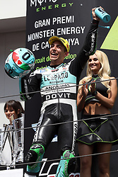 June 17, 2018 - Montmelo, Catalunya, Spain - Enea BASTIANINI of Italy and Leopard Racing celebrates victory on the podium during Gran Premi Monster Energy de Catalunya (Grand Prix of Catalunya), Moto3 race, on June 17, 2018 at the Catalunya racetrack in Montmelo, near Barcelona, Spain (Credit Image: © Manuel Blondeau via ZUMA Wire)